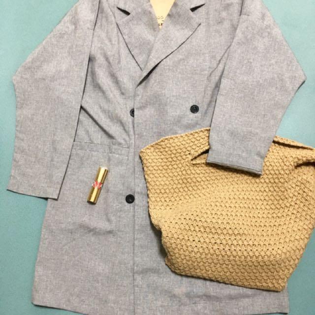 轉賣 灰色簡約率性剪裁長版西裝外套