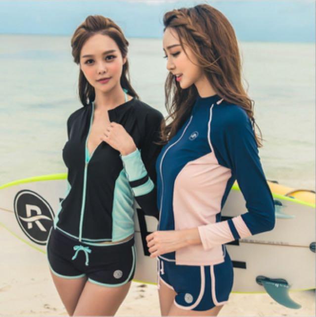 三件式 長袖防曬泳衣