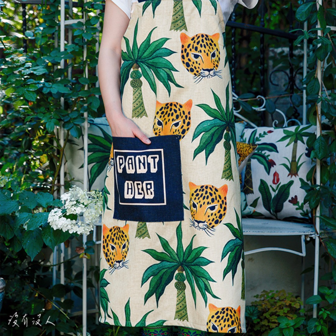 大溪地。熱帶島嶼風情 棉麻圍裙 有口袋 叢林 花豹 南洋風情 交叉設計好穿脫 園藝 多肉 有機商店 手做 甜點。沒有沒人