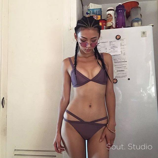 歐美復古色系煙燻紫 超性感比基尼 bikini