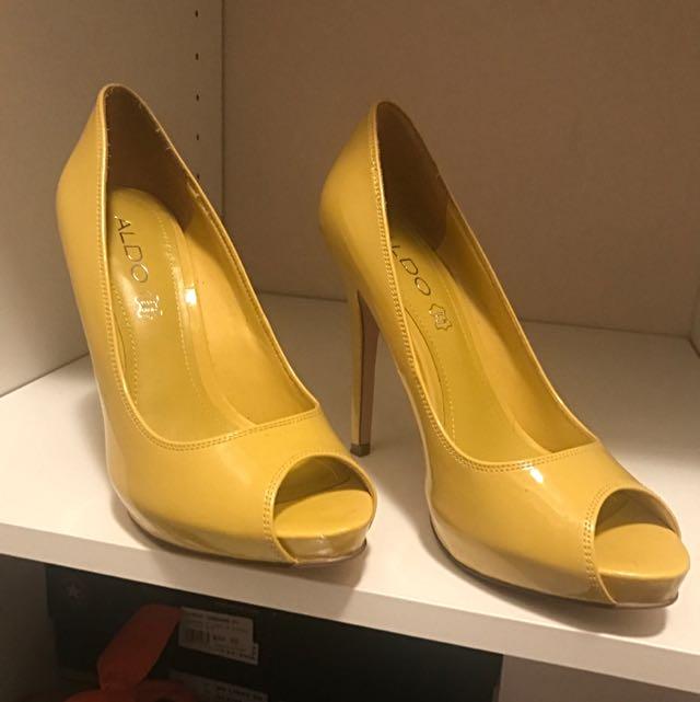 Aldo Yellow Leather Peep Toe Heels