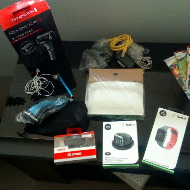 Apple accessories + electric shavers + wireless router + DVD player and DVDs