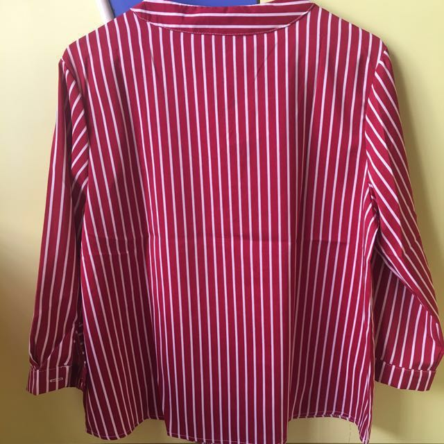 cf6c96e872 Black & White / Red & White Vertical Striped Top Blouse, Women's Fashion,  Clothes, Tops on Carousell