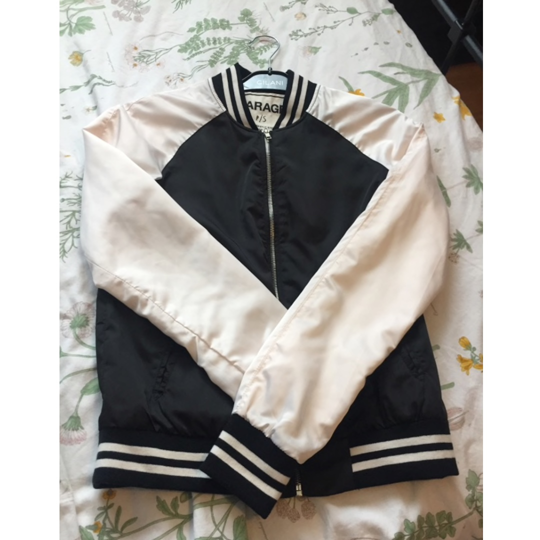 Black and white silk garage varsity jacket