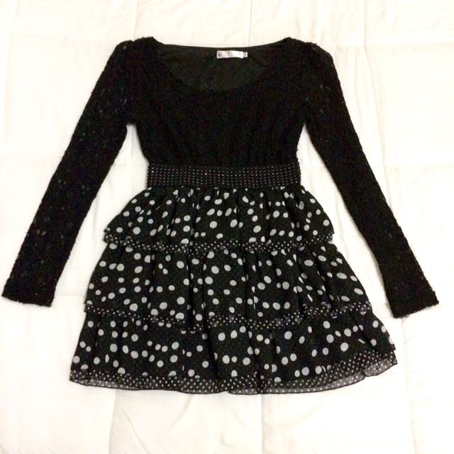 Black Laced Polka Dress