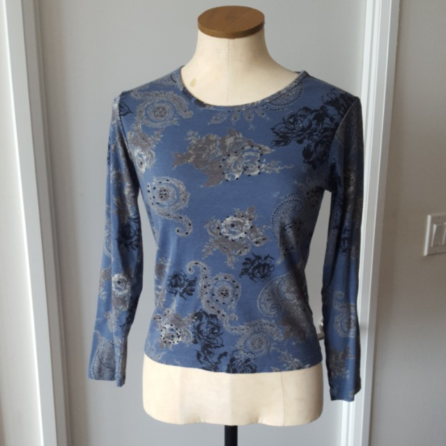 Blue Floral Long Sleeved Top