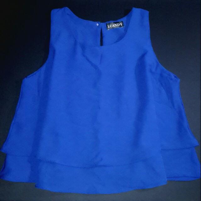 Blue layered crop top