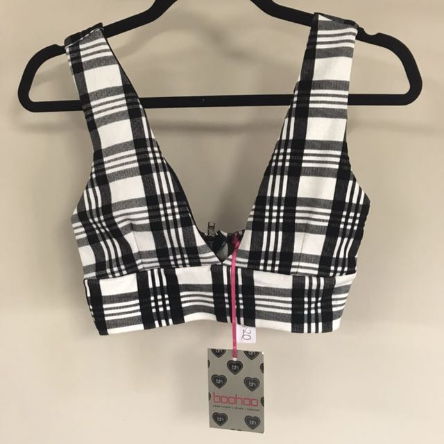 Boohoo black and white tartan crop top - sz 10 - new w tags