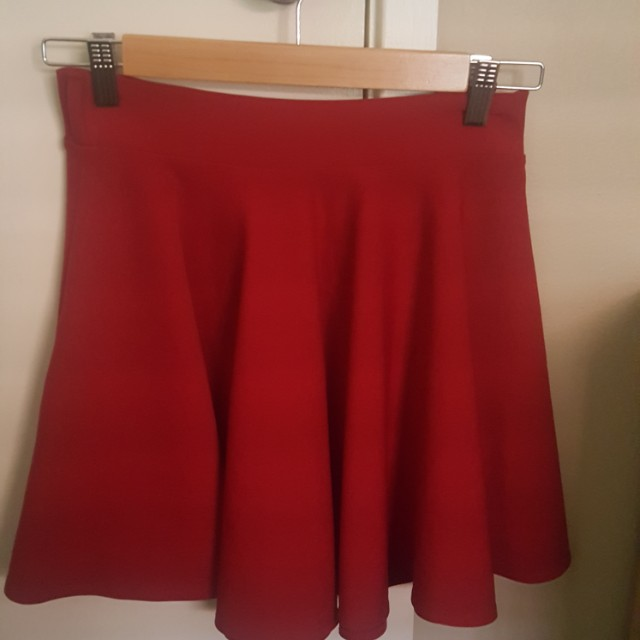 Boohoo cherry red skater skirt