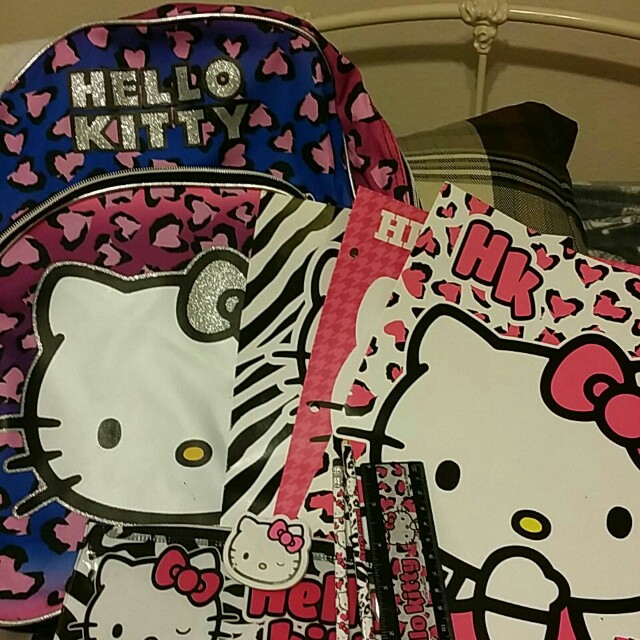 Brand new Hello Kitty backpack w / tags & Hello Kitty school supplies