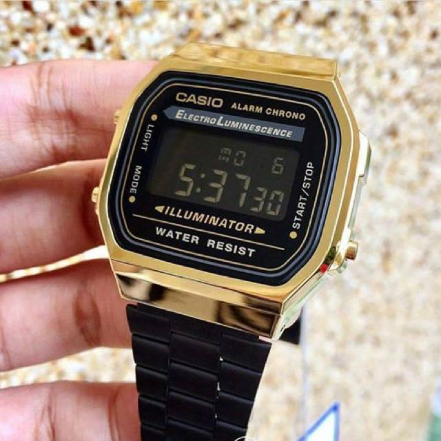 3b032ea346a Brand New Limited Stock Black Gold Digital Steel Vintage Series A168WEGB-1B  Unisex Casio Watch FREE DELIVERY