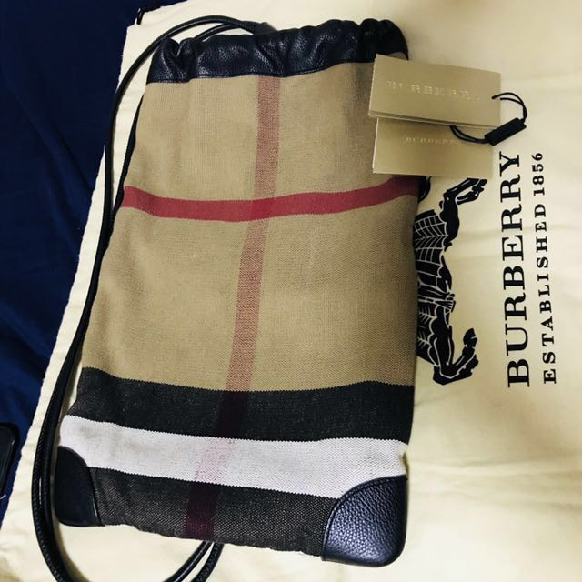 burberry prorsum small mens drawstring bag, Luxury, Bags & Wallets on  Carousell