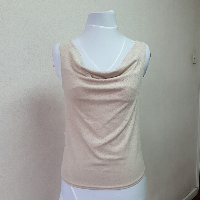 Cowl Sleeveless Stretch Blouse