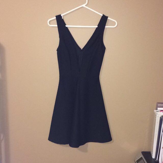 Deep V Neckline Black Dress - Small