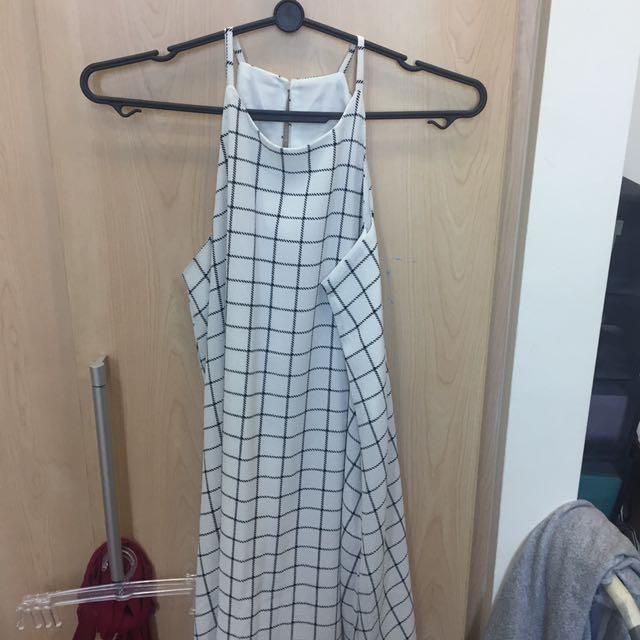 Dressabelle checkered a line chiffon dress
