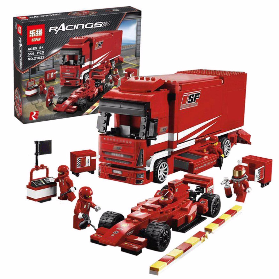 f1 ferrari race car truck lepin 21022 ferrari truck. Black Bedroom Furniture Sets. Home Design Ideas