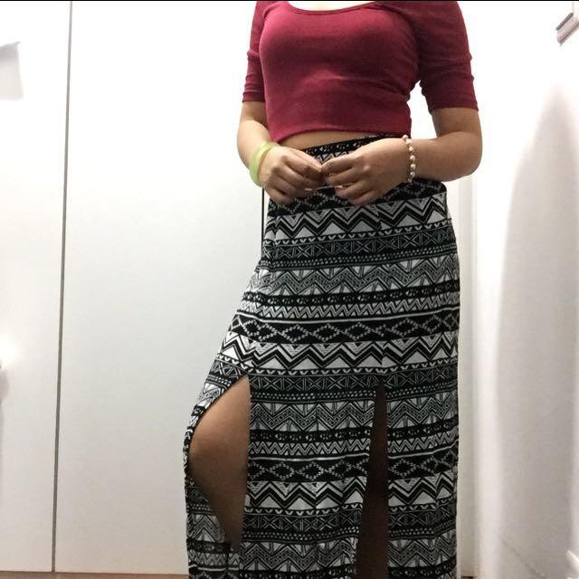 F21 double slit bohemian skirt