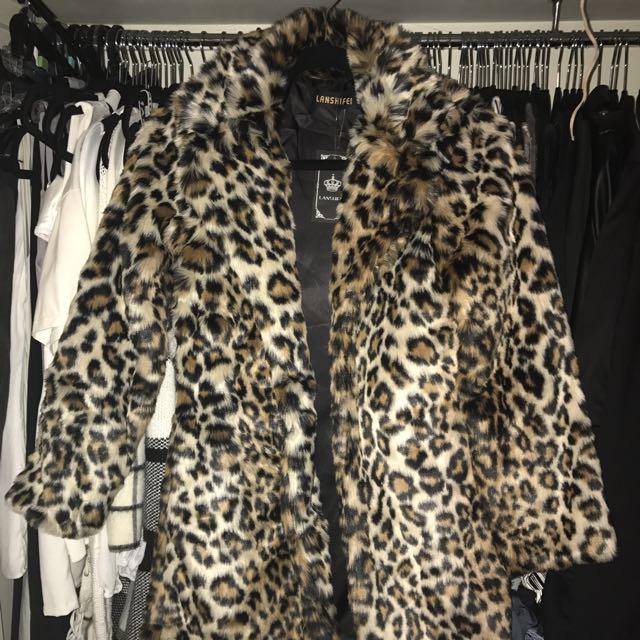 Faux leopard print coat