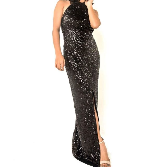 Front Slit Sequined gown/dress