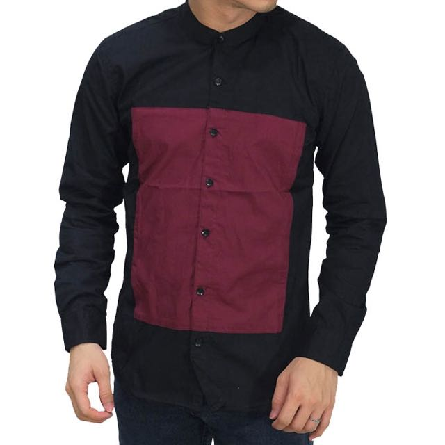 Grandad Square Block Black Shirt