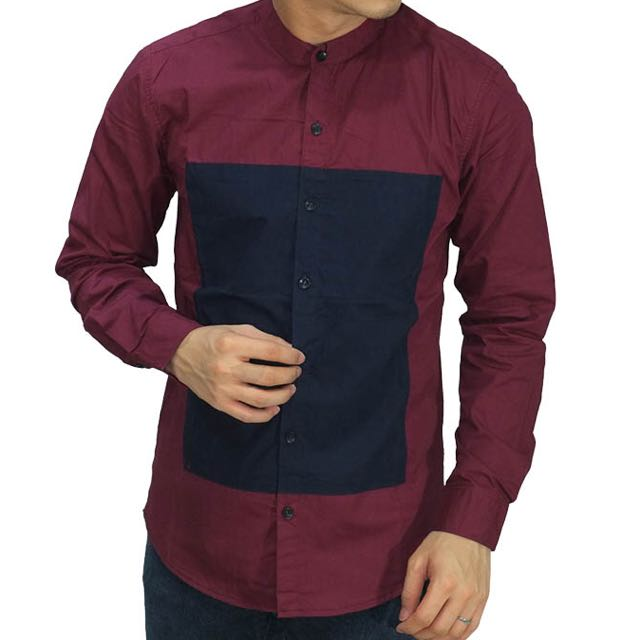 Grandad Square Block Maroon Shirt