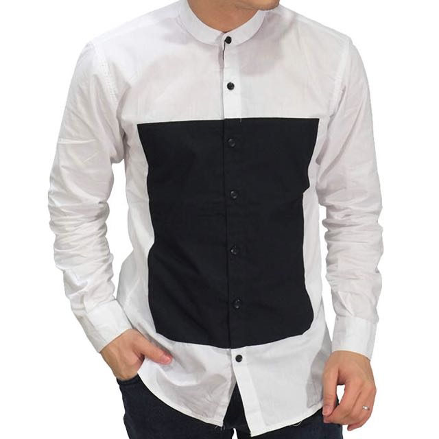 Grandad Square Block White Shirt