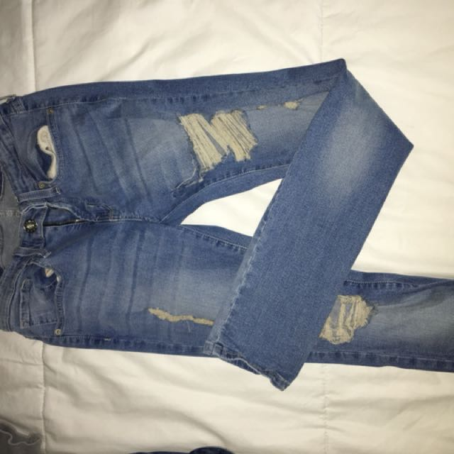 Guess blue ripped jeans