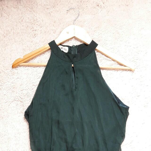 Halter neck forest green sheer dress