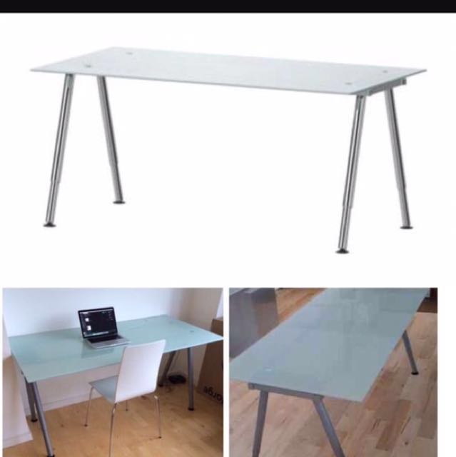 IKEA Galant Glass Top Desk, Furniture, Tables & Chairs on