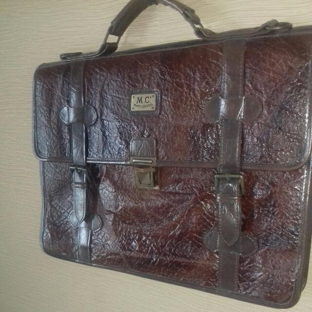 Marc Chantal. Vintage Leather Briefcase
