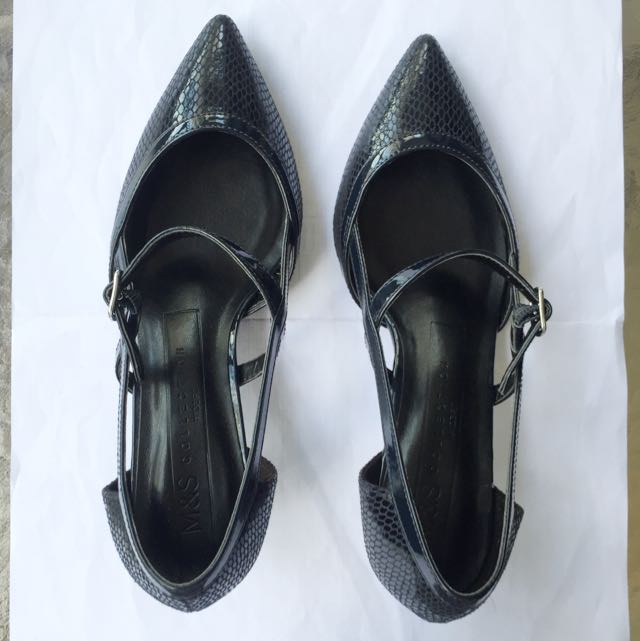 Marks & Spencers Ladies Shoes: Wide Fit Kitten Heel Strap Court Shoes