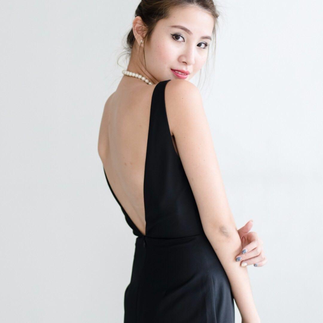 ef5734752ac MGG Cape High Slit Maxi Dress In Black (L)