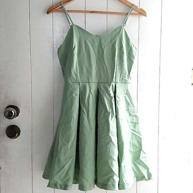 Mini mint green cocktail dress