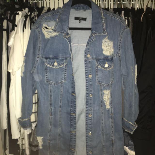 Missguided long denim jacket