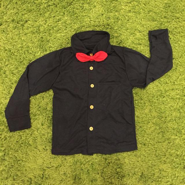 Navy blue bow tie shirt