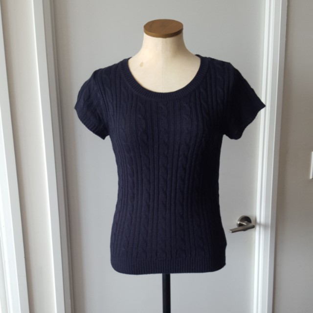 Navy Blue Cable Knit Top
