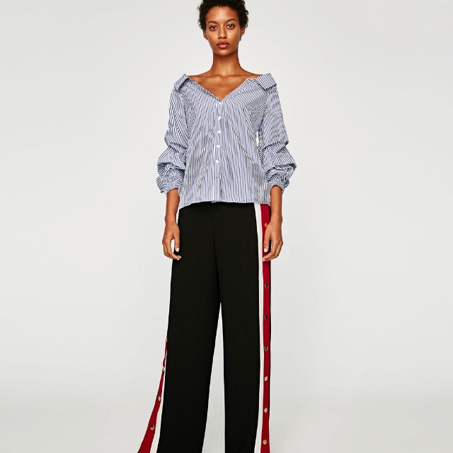 NEW Zara Striped Blouse with Embellished Sleeves