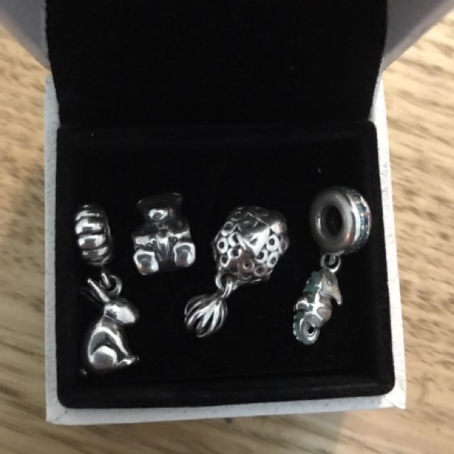 Pandora charms set of animals rabbit, bear, fish, sea horse