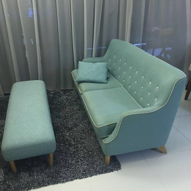 Pre Loved Castlery Hanford Tiffany Blue 3 Seater Sofa And Matching Caleb  Bench With Real Wood Legs, Home U0026 Furniture, Furniture, Sofas On Carousell