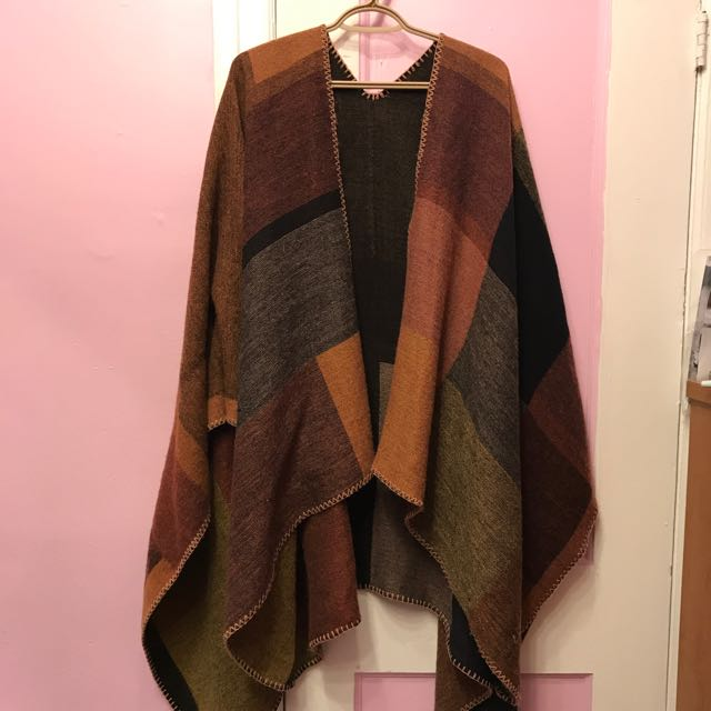 Reversible patched poncho