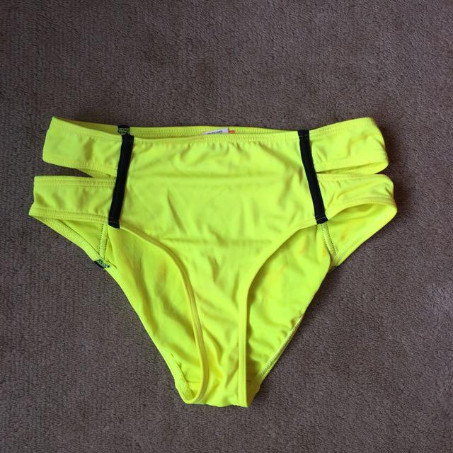 Riverisland neon yellow high waist bikini bottom