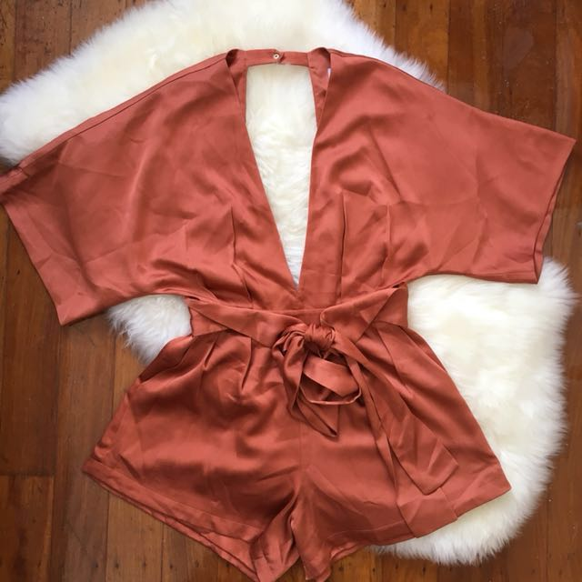 RUNAWAY THE LABEL Size 8 - Bronze Orange Playsuit (RRP $79.95)