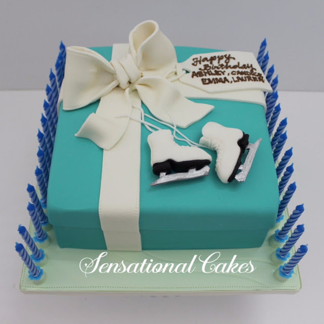Swell Any Blue Box With White Bow 3D Cake Singapore T Box Theme Funny Birthday Cards Online Alyptdamsfinfo