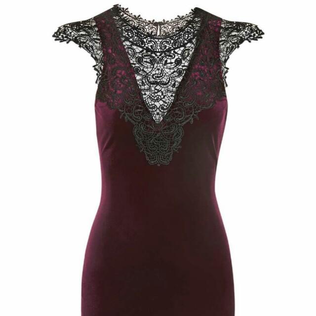 Topshop red velvet lace bib dress