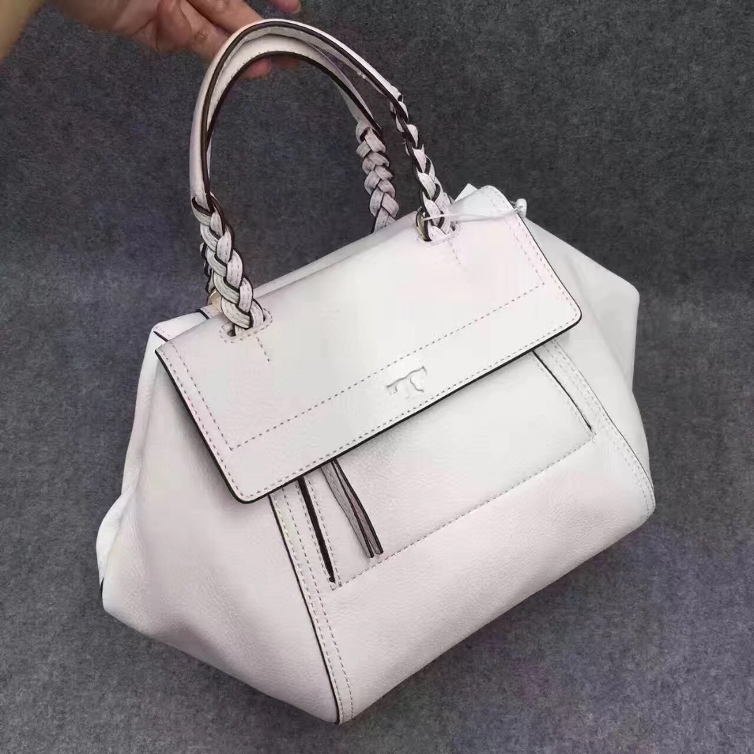 1db70a7d24af Tory Burch Leather Half Moon Small Satchel White  Blue  Red   Black ...