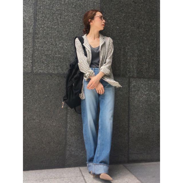 正品ungrid日本製 實品圖 刺耳 寬版牛仔褲 淺藍色 25號