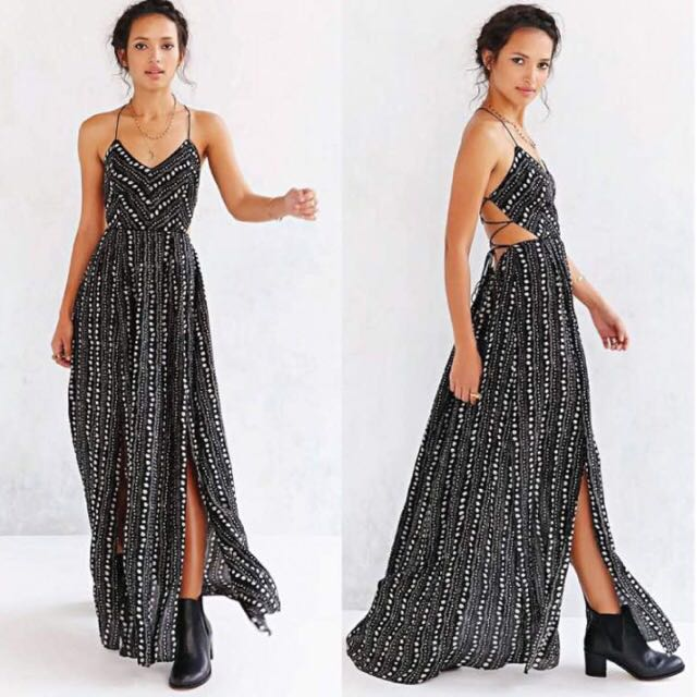 bd893bc453d Urban Outfitters Ecote Strappy Back Safari Maxi Dress