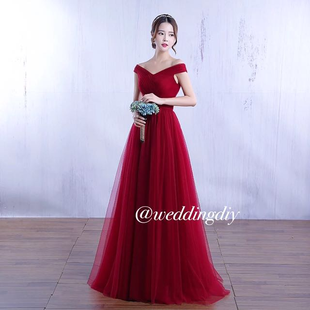 dd3f7289fc68 Wedding Off Shoulder Gown Aline no train Simple for D D  budgetbride ...