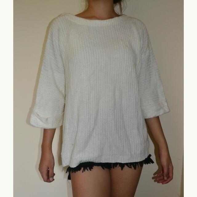 White Knitted Sweater