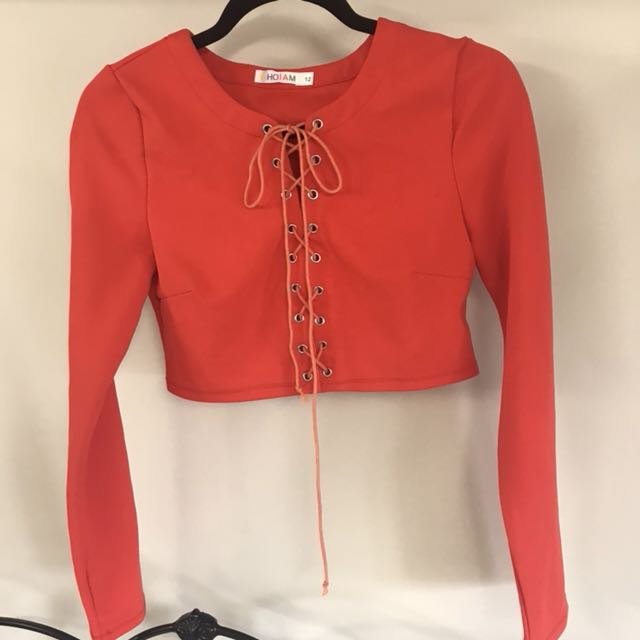 Who am I orange/red long sleeve lace up crop - sz 12 - never worn